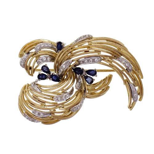 1960 Sapphire Diamond 18k Gold Open Swirl Brooch