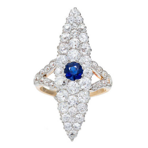 Antique Victorian 1900 Elongated Marquise Natural .63ct Gem Blue Sapphire Diamond Ring