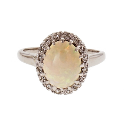 Fine Oval Opal Diamond Halo Ring 14k White Gold