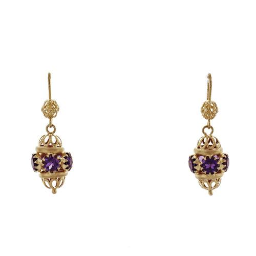 Amethyst 18k Yellow Gold Dangle Earrings