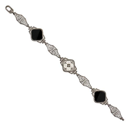 Vintage 1940 Onyx Bracelet Filigree 14k White Gold
