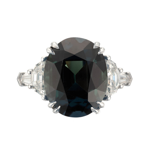 Peter Suchy GIA Certified 15.61 Carat Sapphire Diamond Platinum Engagement Ring