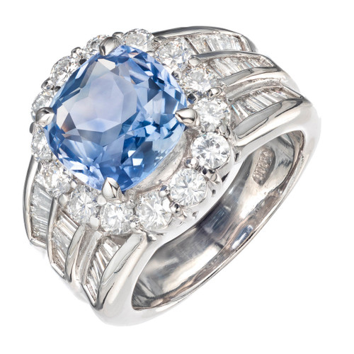 Peter Suchy GIA Certified 4.77 Carat Sapphire Diamond Platinum Engagement Ring