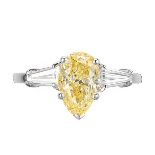GIA Certified 1.54 Carat Pear Yellow Diamond Platinum Engagement Ring