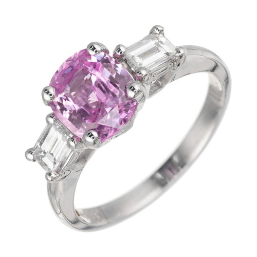 Peter Suchy 1.79 Carat Pink Sapphire Diamond Platinum Engagement Ring