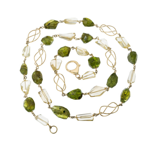 GIA Certified 330.00 Carat Peridot Citrine Freeform Gold Beaded Chain Necklace