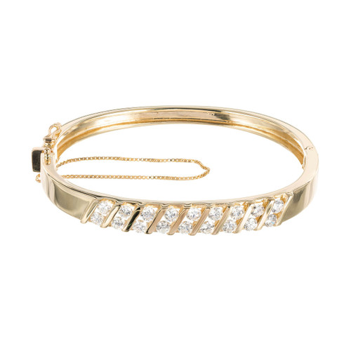 2.30 Carat Diamond Yellow Gold Bangle Bracelet