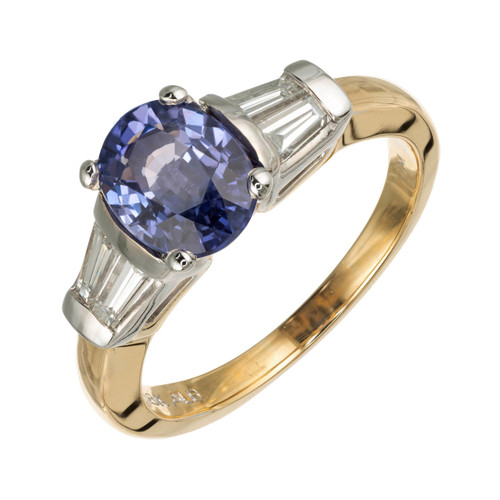 Peter Suchy GIA Certified 1.70 Carat Oval Sapphire Diamond Gold Engagement Ring