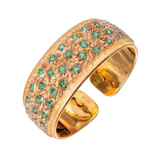 Buccellati Emerald 18k Yellow Rose Gold Cuff Bracelet
