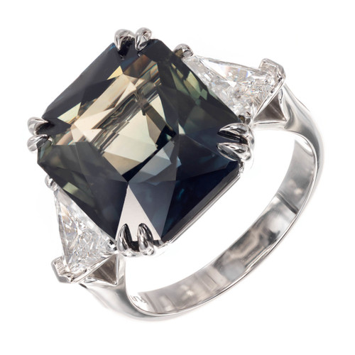 Peter Suchy GIA Certified 15.30 Carat Sapphire Diamond Platinum Engagement Ring