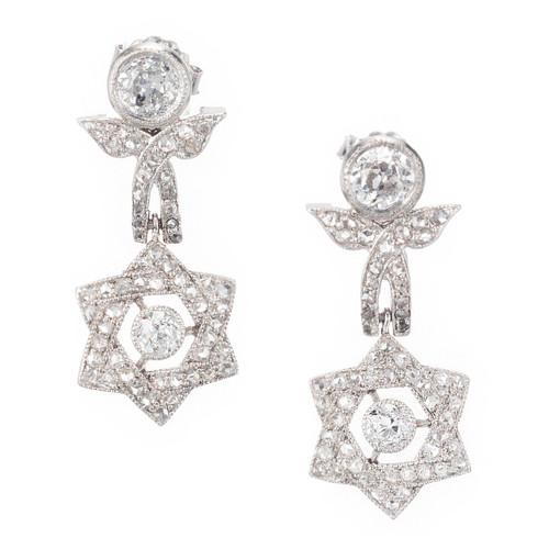 EGL Certified 2.12 Carat Diamond Platinum Star Dangle Earrings
