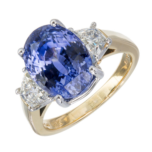 7.75ct Blue Sapphire Diamond Platinum Gold Engagement Ring