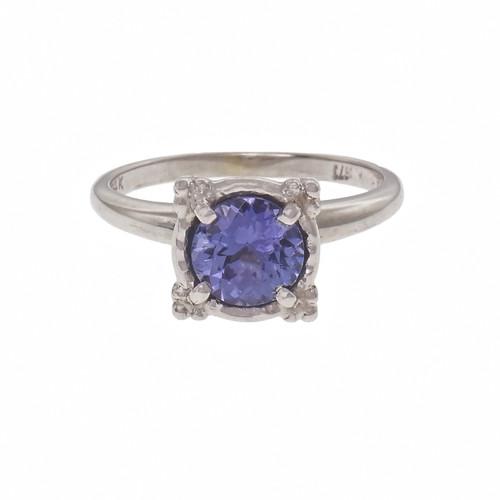 Estate 1.00ct Round Tanzanite Engagement Ring 14k White Gold
