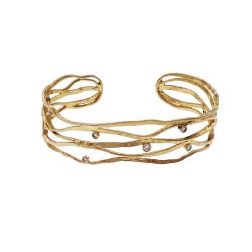 Diamond Cuff Bracelet 14k Yellow Gold