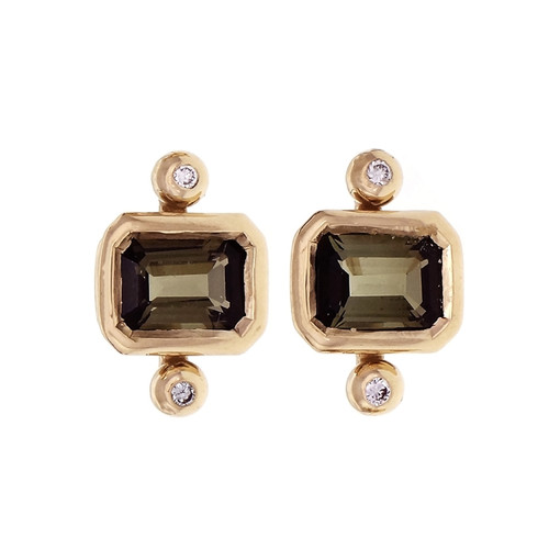 Peter Suchy 2.00ct Tourmaline Diamond Earrings 14k Gold Polished