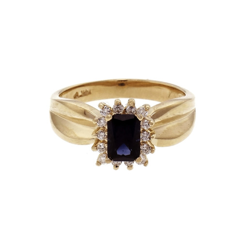 Estate Emerald Cut Sapphire Halo Ring 14k Yellow Gold Diamond