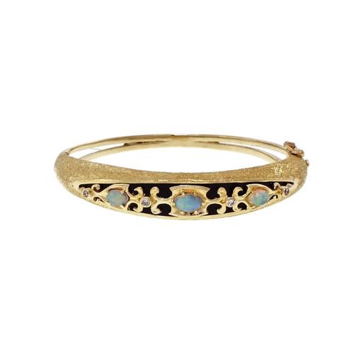 Vintage 1960 Opal Bangle Bracelet 14k Yellow Gold