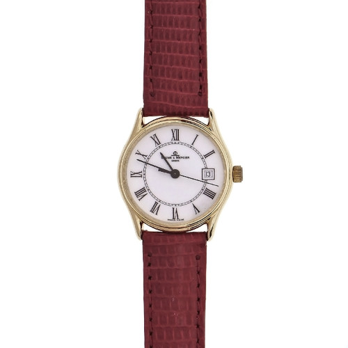 14k Yellow Gold Baume & Mercier Ladies Watch Quartz White Dial Roman Numerals