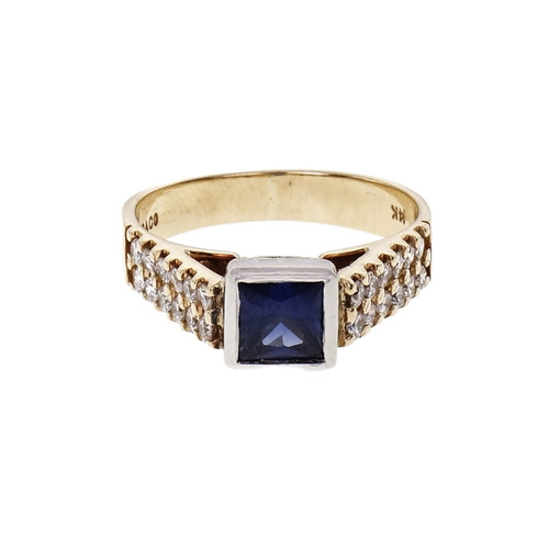 Estate Square Sapphire & Diamond Engagement Ring 14k Gold GIA Certified