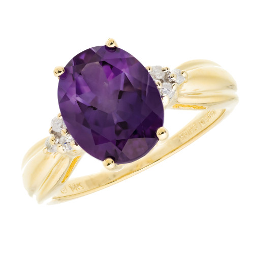 3.00 Carat Oval Amethyst Diamond Yellow Gold Ring