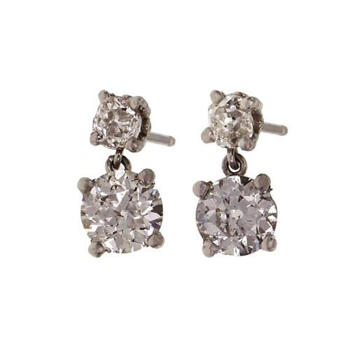 Peter Suchy Old European cut Diamond Dangle Earrings 1.59ct Total Platinum