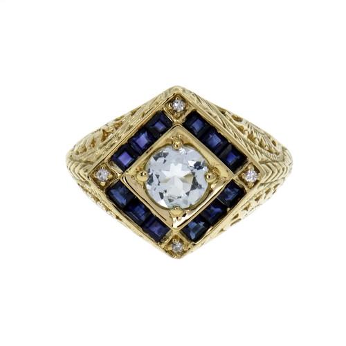 Vintage Aqua Sapphire Diamond Ring 14k Gold Filigree