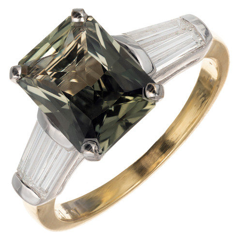 Peter Suchy GIA Certified 2.88 Green Sapphire Diamond Gold Engagement Ring