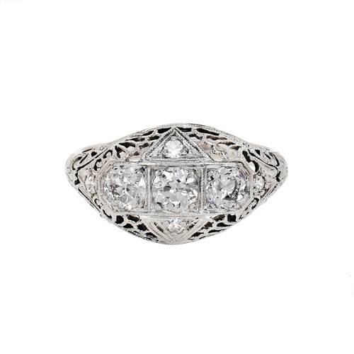 Vintage 1930 Filigree Diamond Dome Ring 14k White Gold