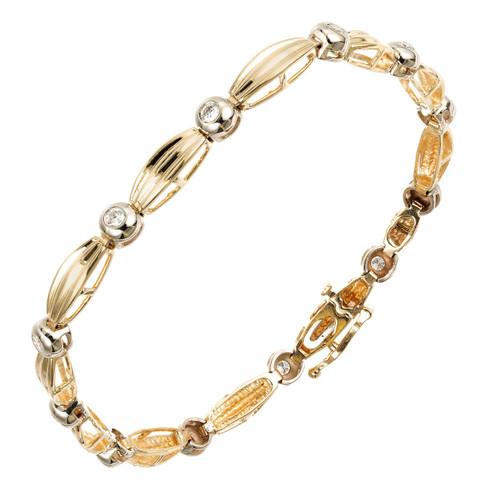Bezel Set Diamond Bracelet 14k Yellow Gold .36ct