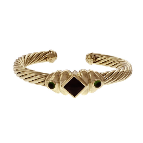 David Yurman Renaissance Cuff Bracelet Pink & Green Tourmaline 14k Yellow Gold