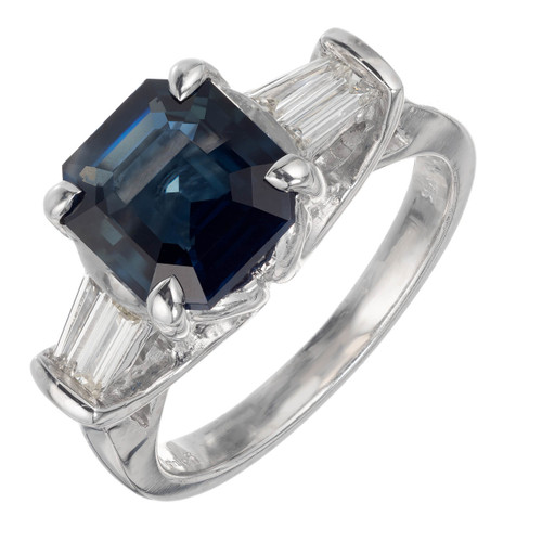 Natalie K Estate Sapphire Ring GIA Certified Natural No Heat Platinum Diamond
