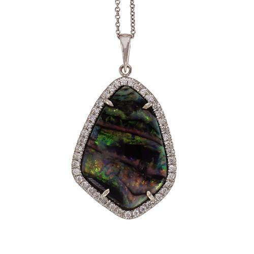 Peter Suchy Black Opal Pendant GIA Certified Freeform 18k White Gold Diamond