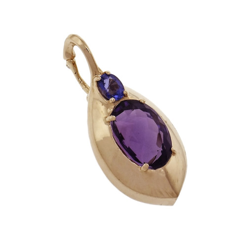 Estate Amethyst Iolite Enhancer Pendant 14k Yellow Gold