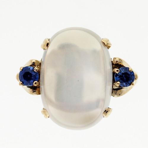 Vintage F & F Felger 4.40ct Fine Moonstone Sapphire 14k Yellow Gold Ring