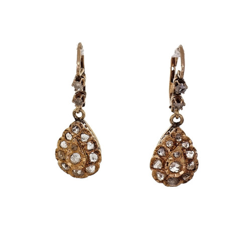 1900 Estate Rose Cut Diamond Dangle Earrings 18k Rose Gold