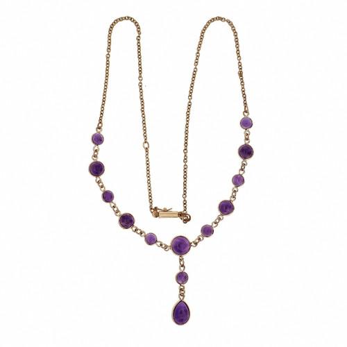 Amethyst Cabochon Necklace Vintage 1940 9k Gold