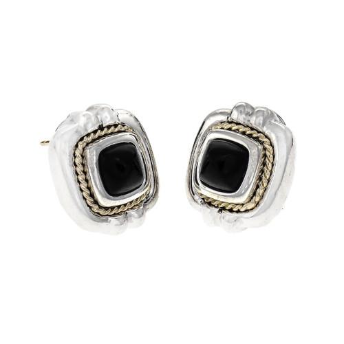 Tiffany & Co Onyx Earrings Silver & 18k Gold