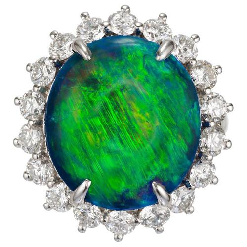 Peter Suchy GIA Certified 7.55 Carat Black Opal Diamond Platinum Cocktail Ring
