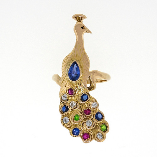 Vintage Ladies 14k Gold Peacock Sapphire Ruby Emerald Diamond Ring