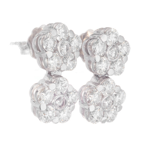 Peter Suchy 2.11 Carat Diamond White Gold Flower Cluster Dangle Earrings