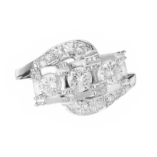 .50 Carat Diamond White Gold Three-Stone Swirl Engagement Ring