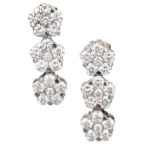 Peter Suchy 3.18 Carat White Gold Triple-Cluster Dangle Earrings