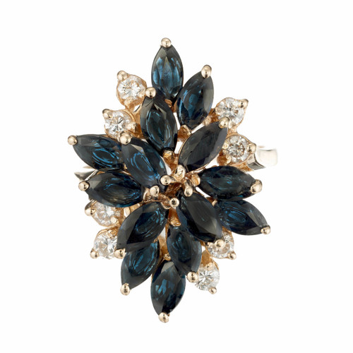 3.60 Carat Sapphire Diamond Yellow Gold Cluster Cocktail Ring