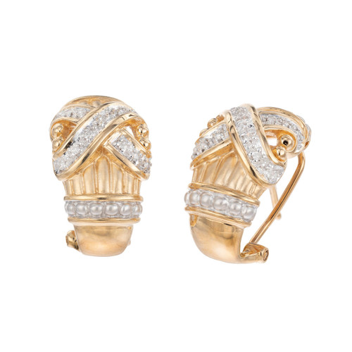 .20 Carat Diamond Yellow White Gold X Design Clip Post Earrings