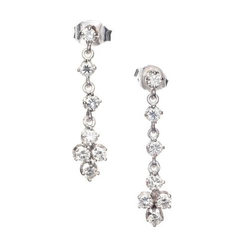 .42 Carat Diamond White Gold Dangle Drop Earrings