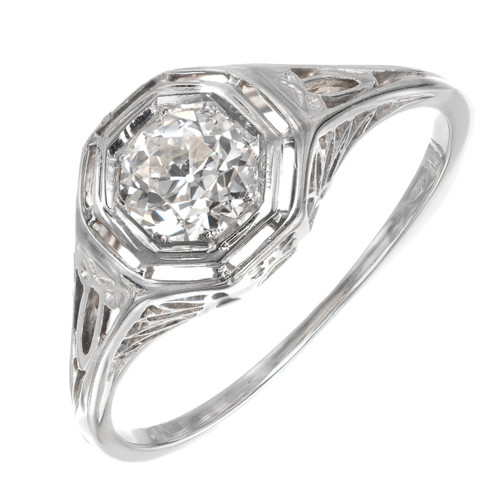 .45 Carat Diamond Old Euro Filigree Gold Engagement Ring