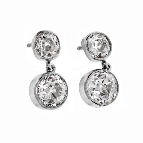Peter Suchy Diamond Dangle Earrings Platinum Bezel Old European Old Mine Cut