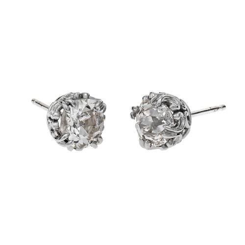 Peter Suchy Old Mine Cut Diamond Stud Earrings Platinum Antique Scroll Design