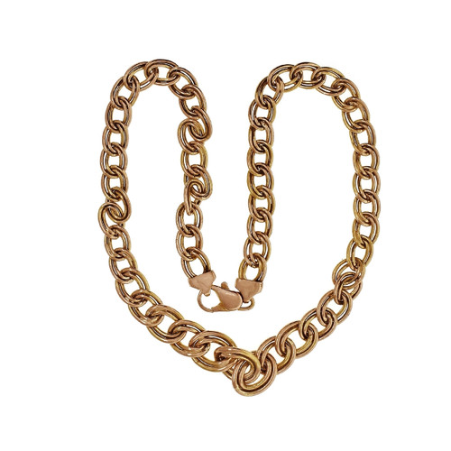 Graduated Double Oval Link Necklace 14k Yellow Gold Chain