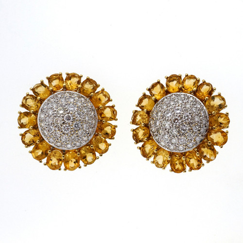 Vintage Domed Button Earrings 18k Gold 7.50ct Citrine Diamond